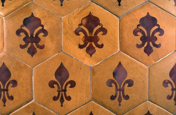 Deferranti Inlay Fleur De Lys Inlaid Polychrome Repeat
